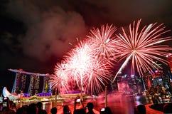 Fogos de artifício lunares do ano novo 2019 de Singapura fotografia de stock royalty free