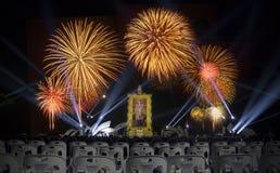 Fogos-de-artifício majestosos na cidade de HuaHin Fotografia de Stock
