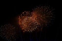 Fogos-de-artifício multicoloridos em um céu preto Fotografia de Stock Royalty Free