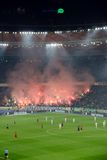 Fogos-de-artifício na arena do futebol em Kiev Fotografia de Stock