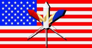 Fogos-de-artifício na bandeira americana Fotos de Stock Royalty Free
