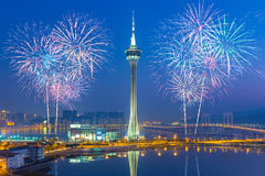 Fogos-de-artifício na cidade de Macau, China Foto de Stock Royalty Free