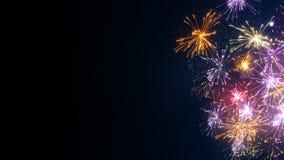 Fogos-de-artifício na imagem do feriado da borda e do espaço livre Fotos de Stock Royalty Free