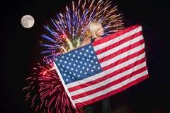 Fogos-de-artifício na Lua cheia Imagens de Stock Royalty Free