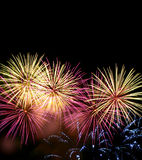 Fogos-de-artifício na noite Imagem de Stock