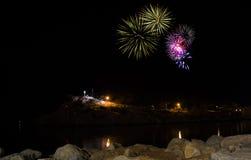 Fogos-de-artifício na noite em Makarska Foto de Stock Royalty Free