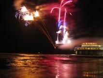 Fogos-de-artifício na praia Foto de Stock Royalty Free