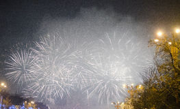 Fogos-de-artifício na véspera de anos novos Imagem de Stock Royalty Free