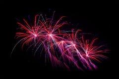Fogos-de-artifício na véspera de anos novos Imagem de Stock
