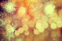 Fogos-de-artifício no ano novo Fotografia de Stock