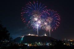 Fogos-de-artifício no céu noturno fotos de stock