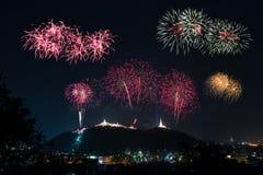 Fogos-de-artifício no céu noturno imagem de stock