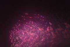 Fogos-de-artifício no céu noturno em honra do feriado Fotos de Stock Royalty Free