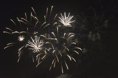 Fogos-de-artifício no céu noturno em um feriado Foto de Stock Royalty Free