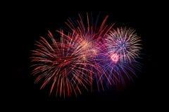 Fogos-de-artifício no céu preto Quarto de julho, Dia da Independência Fotos de Stock