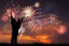 Fogos-de-artifício no Dia da Independência imagens de stock royalty free