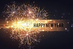 Fogos-de-artifício no espaço do ano novo e da cópia - fundo abstrato do feriado Fotos de Stock
