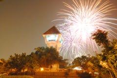 Fogos de artifício no farol de Tainan Anping fotos de stock