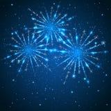 Fogos-de-artifício no fundo azul Fotografia de Stock