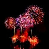 Fogos-de-artifício no fundo escuro do céu Fotografia de Stock