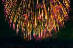 Fogos-de-artifício no fundo escuro do céu Fotos de Stock Royalty Free