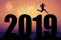 Fogos de artifício no por do sol com a silhueta do ano novo 2019 e miliampère de salto fotografia de stock