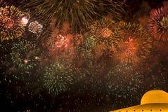Fogos-de-artifício no templo de Dhammakaya Fotos de Stock Royalty Free