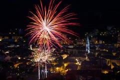 Fogos-de-artifício o 14 de julho em França Foto de Stock
