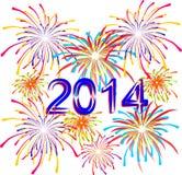 Fogos-de-artifício para o feriado no 2014 novo Foto de Stock
