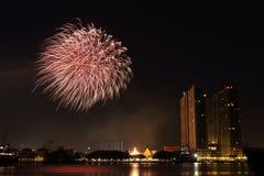 Fogos-de-artifício perto do rio Fotografia de Stock
