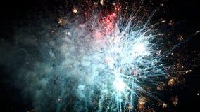 Fogos-de-artifício que explodem em várias cores no céu noturno escuro video estoque