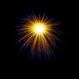 Fogos-de-artifício que explodem na noite ilustração royalty free