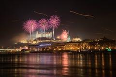 Fogos-de-artifício sobre Bratislava Fotos de Stock Royalty Free