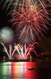 fogos-de-artifício sobre budapest Fotografia de Stock