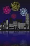 Fogos-de-artifício sobre a cidade ilustração do vetor