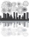 Fogos-de-artifício sobre a cidade ilustração stock