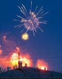 Fogos-de-artifício sobre a cidade Foto de Stock