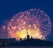 Fogos-de-artifício sobre a cidade Imagens de Stock Royalty Free