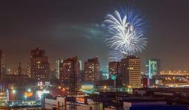 Fogos-de-artifício sobre a cidade Imagem de Stock Royalty Free