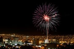 Fogos-de-artifício sobre El Paso, Texas Foto de Stock