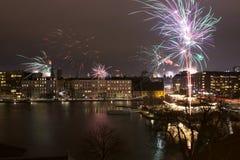 Fogos-de-artifício sobre o ano novo de Copenhaga Imagem de Stock