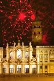 Fogos-de-artifício sobre o maggiore de Santa Maria, Italy. Roma. fotografia de stock
