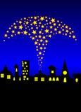 Fogos-de-artifício sobre a skyline Imagem de Stock Royalty Free