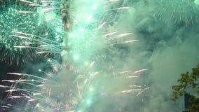 Fogos de artifício sobre a torre da tevê, Moscou, Rússia vídeos de arquivo