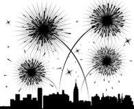 Fogos-de-artifício sobre uma cidade ilustração royalty free