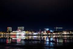 Fogos-de-artifício sobre UmeÃ¥, Suécia Imagem de Stock Royalty Free