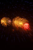 Fogos-de-artifício vermelhos, amarelos e azuis contra um céu preto Imagens de Stock