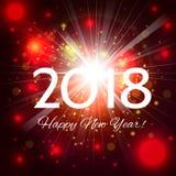 Fogos-de-artifício vermelhos bonitos com ano novo feliz 2018 dos cumprimentos! Foto de Stock