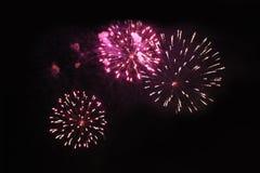 Fogos-de-artif?cio firework Fundo celestial Trio de surpresa de luzes efervescentes vermelhas e amarelas brilhantes no céu noturn fotos de stock royalty free