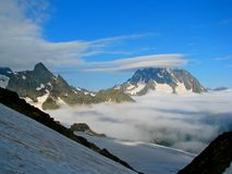 Fogs and clouds. Caucasian mountain, Karachay-Cherkessia,  Arkhyz area, the middle of summer Stock Photo